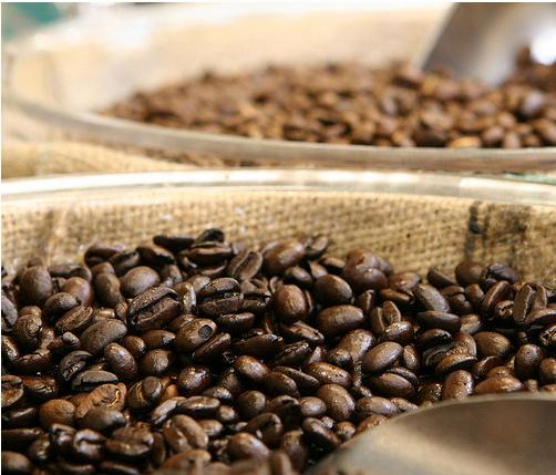Granos de café recien molidos